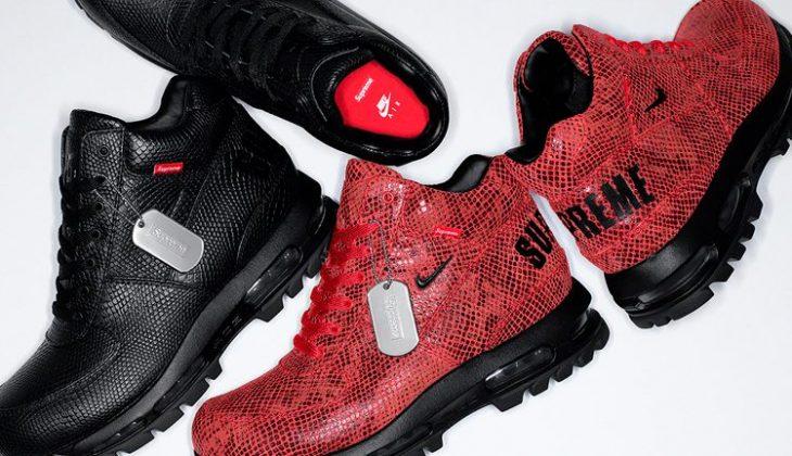 Si te gustan las botas mira estas Supreme x Nike Goadome Snakeskin…