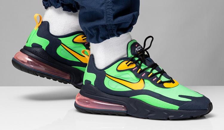 Nike-Air-Max-270-React-on-feet-electric-green
