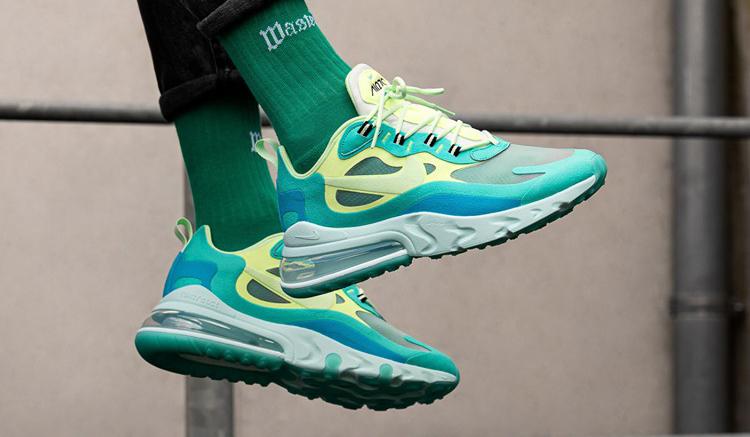 Nike-Air-Max-270-React-on-feet-verdes