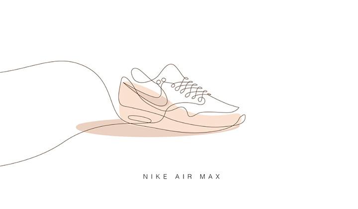Sneakers dibujadas con una simple línea