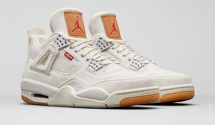 Nuevas Air Jordan 4 x Levis en Blanco