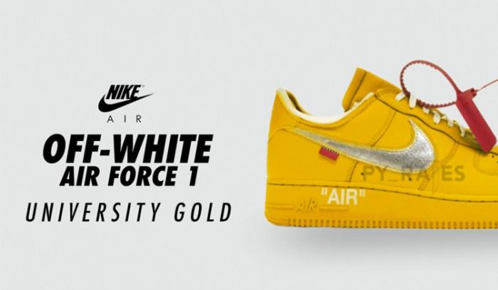 Las Off-White x Nike Air Force 1 University Gold podrían caer muy pronto.