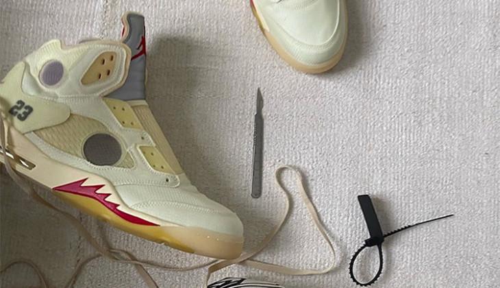 Confirmadas las Off-White x Air Jordan 5 Sail para verano