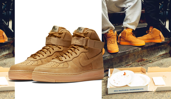 Lookbook para las Nike Air Force 1 High Wheat Pack con el trío de rap RRR