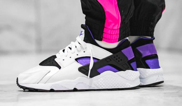 Nike Air Huarache Purple Punch on feet