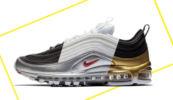 Nuevo Nike Air Max 97 Metallic Pack con oro, plata y acero.